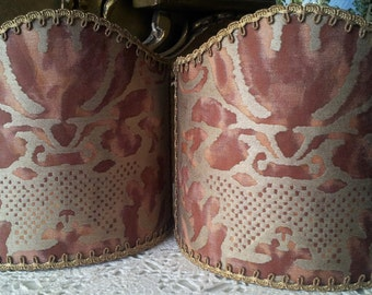 Pair of Clip-On Lamp Shades Fortuny Fabric Deep Burgundy & Gold Sevigne Pattern Half Lampshade - Handmade in Italy