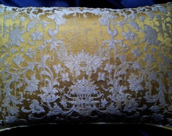 Gold Silk Jacquard Rubelli Fabric Throw Lumbar Pillow Cushion Cover Les Indes Galantes Pattern - Handmade in Italy