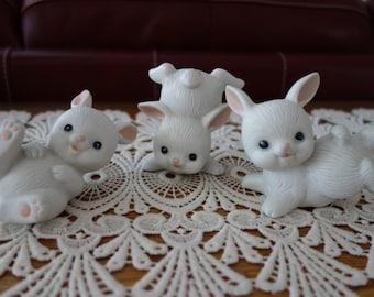 Vintage Bunny Figurines, Easter, Rabbits, Bunny Rabbits, Set, Homco, White, Home Decor, Collectibles, Easter Decor, Ceramic Bunnies, Rabbits