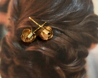 Decorative Hair Pins Grecian Bridal Vintage 1950's Giovanni Gold Rose Bobby Pins