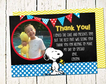 PERSONALIZED Snoopy Thank You-Peanuts Thank You-Snoopy and Peanuts Party