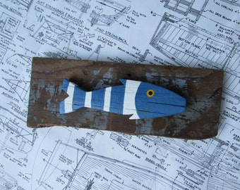 Driftwood with Blue and White Fish