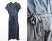 Vintage Navy Blue Chiffon Flouncy 40s Inspired Dress / Midi / Buttons / Waist Tie