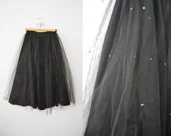 Vintage 60s Black Tulle Full Skirt Rhinestones Glitter Party Midi Poodle