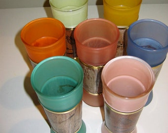 Vintage Siesta Ware Tiki Glasses -- Set of 7 Different Colors
