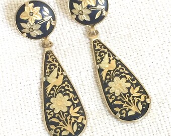 Etched Black and Gold Teardrop Dangle Earrings