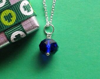 Blue Saphire Swarovski Crystal Pendant, Sterling Silver Chain,