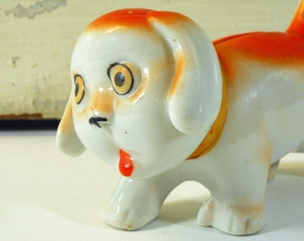 Small Dog Bank Made in Japan Orange Ceramic Piggy Bank