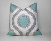 Light blue/aqua Decorative pillow cover.  Suzani inspired print design. Home decor accent pillows
