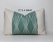 PILLOW WRAP.  Robert Allen geometric print in teal blue. Natural ivory home decor accent