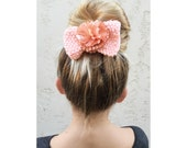 BOW Hand Knit Peach Bow with center Flower - Hair Bow Clip