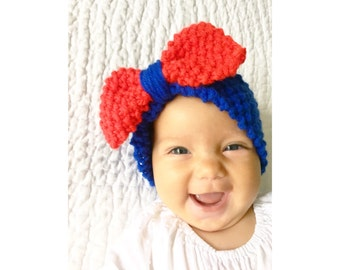 Baby Knit Bow Headband in Royal Blue with Red Bow, Baby Headband