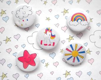 Unicorn badge set - unicorn - unicorn gift - I love unicorns - pin badge - party favour - birthday favour - birthday gift - set of 5