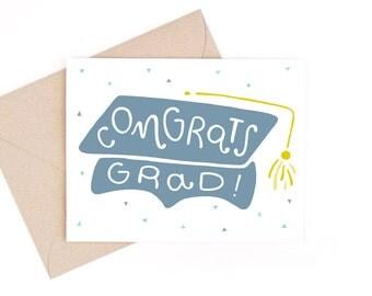 graduation card - congrats grad! - recycled paper