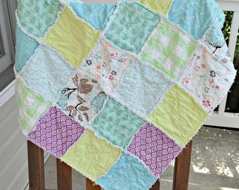 Baby rag quilt, homemade rag quilt, Purple rag quilt, aqua rag quilt, green rag quilt, floral rag quilt, baby girl rag quilt, ready to ship