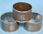 English Napkin Rings Edwardian Set Of 3 Engraved Numbered Silverplate  Dinner Table Tea Table