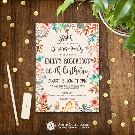 Printable Fall Surprise Birthday Invitations 60th Birthday