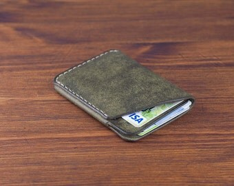 2-Pocket Leather Card Wallet  - distressed vegetable tanned leather (Forest) - DHK GOODS