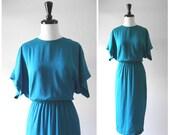 Gorgeous Teal Blue Silk Classic Vintage Day Dress / 1980s 1970s Dolman