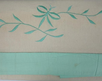 Vintage Pair of Unused French Metis Sheets with Green machine Embroidered - Unused,