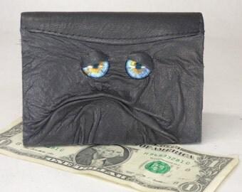 Black Leather Wallet Bi-Fold Monster Face Credit Card Holder