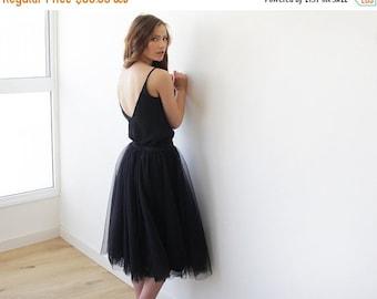 Tulle midi black skirt, Knee length black tulle skirt, Black tulle skirt