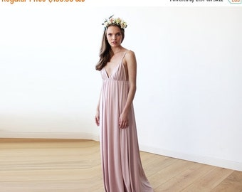 Maxi deep V-neck blush-pink dress,  Blush-Pink minimalist maxi dress