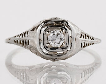Antique Engagement Ring - Diamond Ring - Antique Edwardian 18k White Gold Diamond Engagement Ring