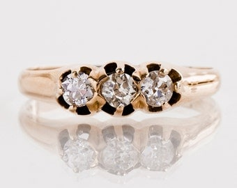 Antique Engagement Ring - Antique 14k Yellow Gold 3-Stone Diamond Ring