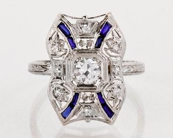 Antique Ring - Antique Art Deco Platinum & 18k White Gold Diamond and Sapphire Ring