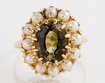 Antique Ring - Andalusite Ring - Antique 14k Rose Gold Adalusite & Pearl Ring
