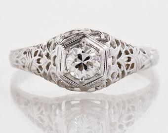Antique Engagement Ring - Antique 1920's 18k White Gold Filigree Diamond Engagement Ring