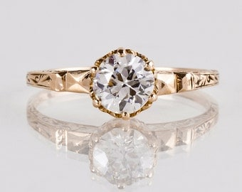 Antique Engagement Ring - Antique Victorian Rose Gold Solitaire Diamond Engagement Ring