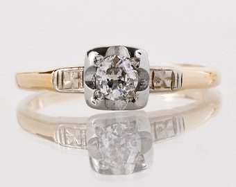 Antique Engagement Ring - Antique 1930's 14k Yellow & White Gold Diamond Engagement Ring