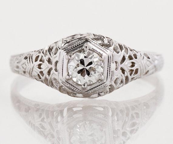 antique engagement ring antique 1920 39 s 18k white gold. Black Bedroom Furniture Sets. Home Design Ideas