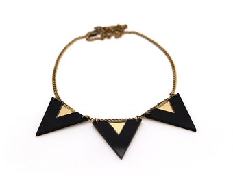 Triangle Necklace, 80's Style Statement Necklace, Black and Gold Color