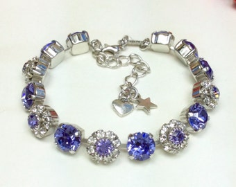 Swarovski Crystal 8.5mm Bracelet With Flowers -Beautiful  Tanzanite With Swarovski Flowers -Designer Inspired - FREE SHIPPING