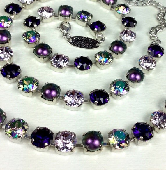 "Swarovski Crystal & Pearl 8.5mm Necklace   ""Tahitian Paradise"" Gorgeous Shimmering Shades of Purples, Violet, Paradise Shine - FREE SHIPPING"