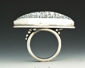 Silver Ring, Denditric Ring, Sterling Silver, Denditric, Metalsmith Jewelry, Handmade Ring, Statement Ring, Size 7.5,