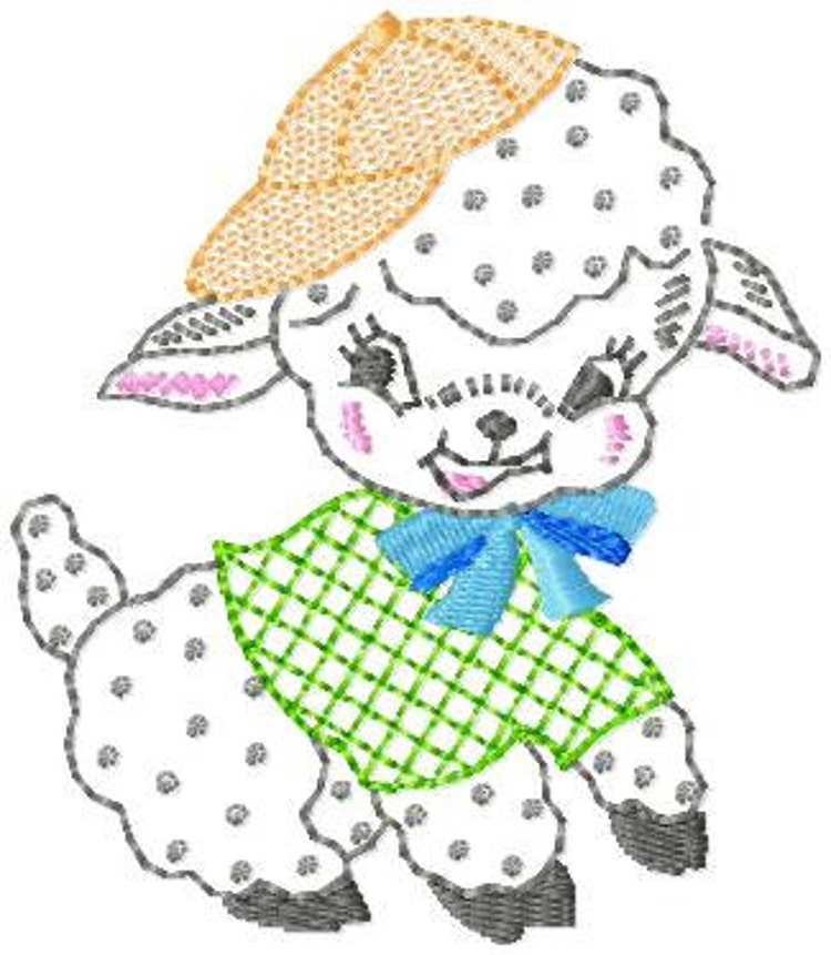 Vintage Baby Lamb Machine Embroidery Design By