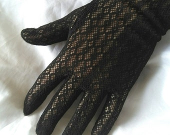 Vintage long black lace gloves