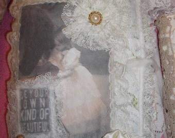 Mixed Media Shabby Chic Fabric Lace Journal Diary keepsake book