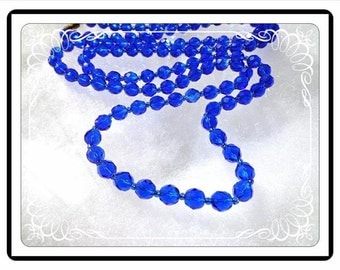 Vintage Crystal Necklace - Crystal Faceted Glass Beaded Rope - Rich Royal Blue Beads - Single Strand - Neck-2837a-092415000