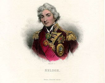 Lord Nelson Great British Heroic Admiral Sublime Antique Hand Colored Portrait Engraving 19th Century