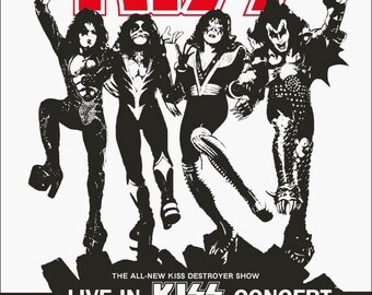 KISS Aug 13,1976 Houston Summit Concert Counter Top Stand-Up Display - Kiss Band Collectibles Memorabilia Retro Gift Idea Poster Kiss Army