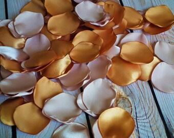ANTIQUE GOLD and FLAX satin rose petals blend, flower girl basket petals, aisle decor, table scatter, vase filler