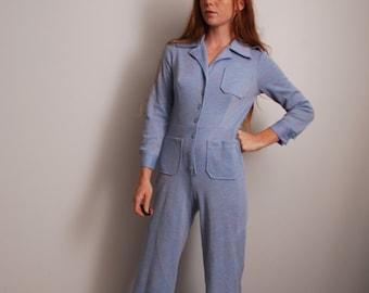 70s small light blue long sleeve pantsuit jumper jumpsuit womens vintage fashion
