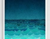 20% OFF SALE: Storm in my soul  - Art illustration Giclee Art print Love decor Sea Ocean Turquoise Blue Home decor Nursery prints Kids room