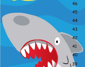 Personalized Shark Canvas Growth Chart