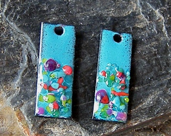 Enameled Copper Shimmer Sticks-30mm-Antique Dark Turquoise-Purple Red Mix-Bohemian Beads-Boho
